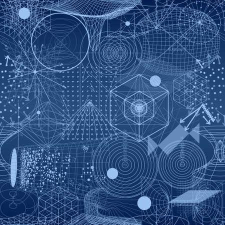 Heilige geometrie symbolen en elementen behang naadloos patroon. Textiel design, abstracte textuur, oppervlakte patroon. Alchemy, religie, filosofie, astrologie en spiritualiteit thema's Vector Illustratie