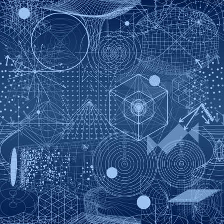 golden ratio: Sacred geometry symbols and elements wallpaper seamless pattern. Textile design, abstract texture, surface pattern. Alchemy, religion, philosophy, astrology and spirituality themes