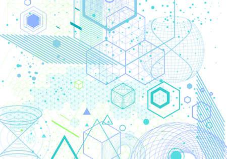 geometría: símbolos de geometría sagrada y elementos de fondo. Cósmico, universo, bing bang, la alquimia, la religión, la filosofía, la astrología, la ciencia, la física, la química y los temas de espiritualidad