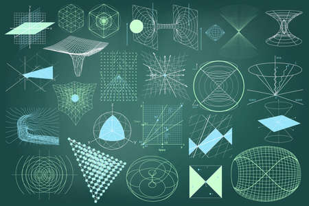 atomic symbol: Big collection of elements, symbols and schemes of physics, chemistry and sacred geometry. The science theme.