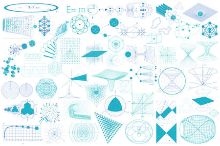 Science. Big collection of elements, symbols and schemes of physics, chemistry and sacred geometry Illustration
