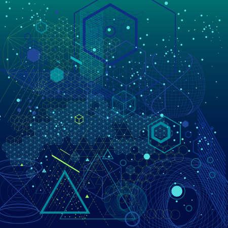 神聖な幾何学シンボルおよびエレメントの背景。宇宙、宇宙、ビング強打、錬金術、宗教、哲学、占星術、科学、物理、化学、精神世界のテーマ