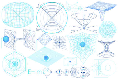 schemes: Science elements, symbols and schemes of physics, chemistry and sacred geometry