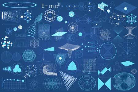 schemes: Big collection of elements, symbols and schemes of physics, chemistry and sacred geometry. The science theme.