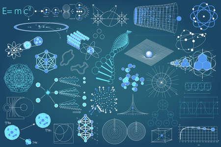 Colección de elementos, símbolos y esquemas de la física, la química y la geometría sagrada. El tema de la ciencia.