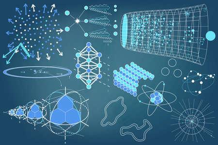Elementy, symbole i schematy fizyki, chemii i świętej geometrii. Nauka tematem. Ilustracje wektorowe