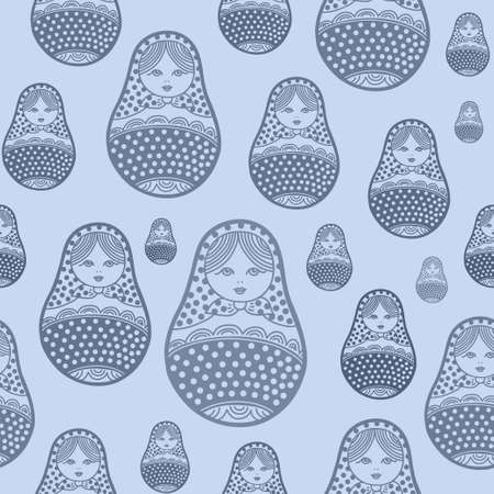 matrioska: Russian retro matryoshka doll illustration. Abstract seamless pattern. Used for souvenirs, greeting cards, posters, print for t-shorts and bags Illustration