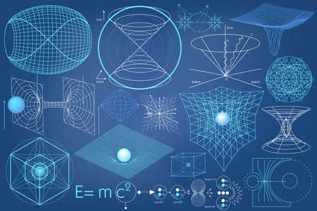 schemes: Elements, symbols and schemes of physics, chemistry and sacred geometry. The science theme.