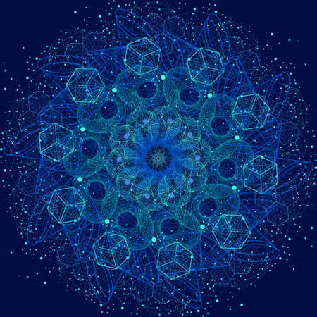 Sacred geometry cosmic mandala. Alchemy, religion, philosophy, astrology and spirituality themes Çizim