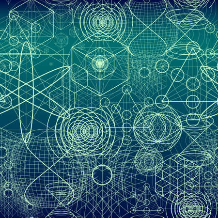 atomic structure: Sacred geometry symbols and elements wallpaper seamless pattern.
