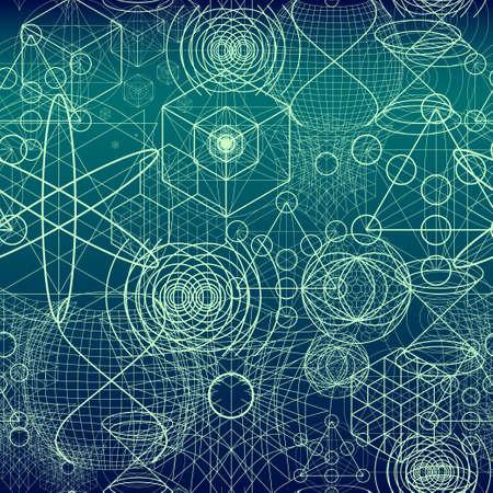 atomic symbol: Sacred geometry symbols and elements wallpaper seamless pattern.