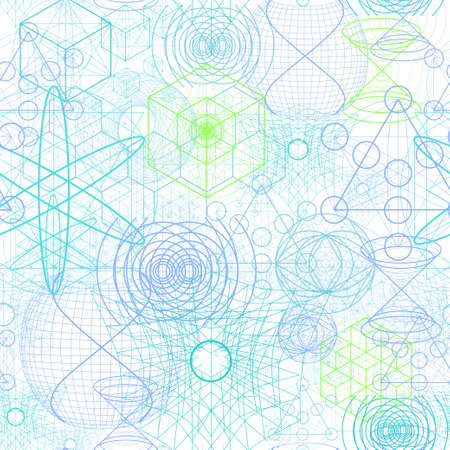 golden ratio: Sacred geometry symbols and elements wallpaper seamless pattern.