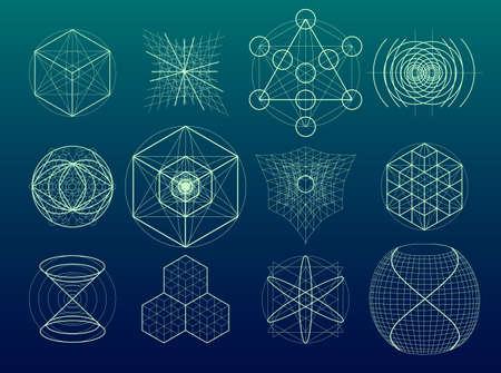 Heilige geometrie symbolen en elementen. 12 in 1.