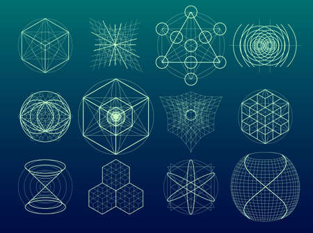 golden ratio: Sacred geometry symbols and elements set. 12 in 1.