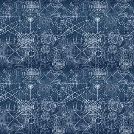 geometra: símbolos y elementos de geometría sagrada patrón de papel tapiz sin fisuras.
