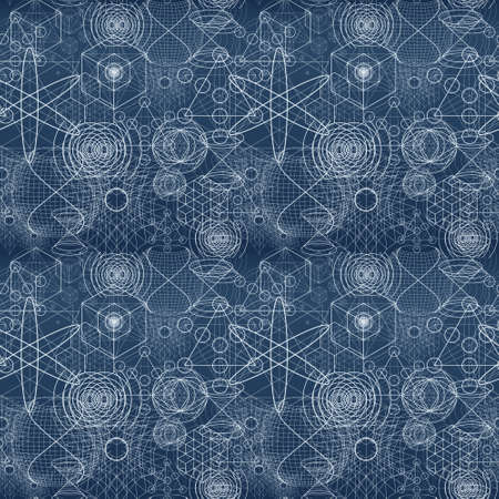 Sacred geometry symbols and elements wallpaper seamless pattern.