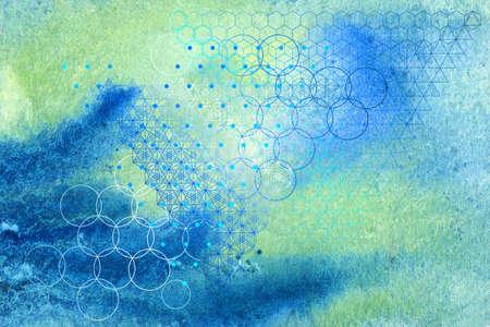 Heilige Geometrie Symbole und Elemente Hintergrund. Standard-Bild