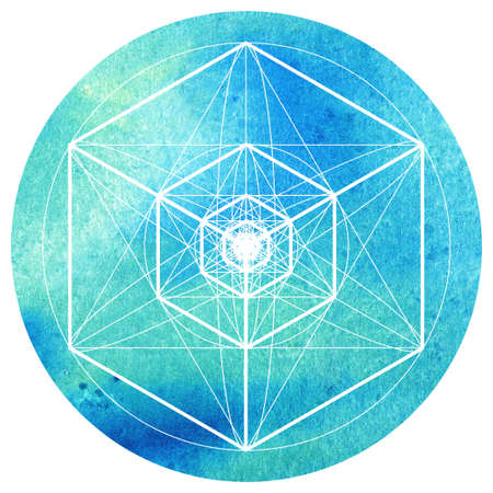 Sacred geometry symbol on colorful watercolor circuar background. Alchemy, religion, philosophy, astrology and spirituality themes. Matter, space and time. Science in Universe