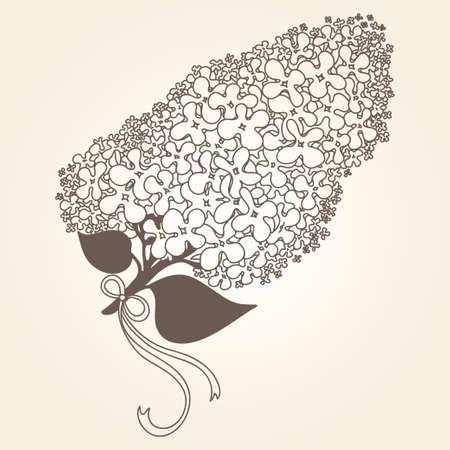 Tak van lila bloemen tekening. Goed voor behang, textiel, achtergrond, ontwerp van trouwuitnodiging, poster, boekomslag, postkaarten. Lente en zomer thema van de illustratie Vector Illustratie