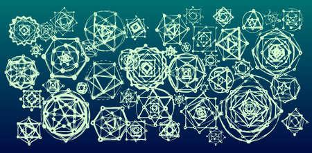 mandalas: Sacred geometry mandalas background. Sacred symbols. Mandalas set. Green and blue color. Illustration