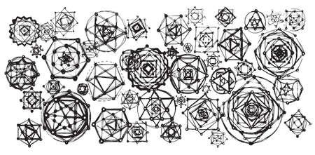 spiritual meditation creation: Sacred geometry mandalas background. Sacred symbols. Mandalas set. Black and white