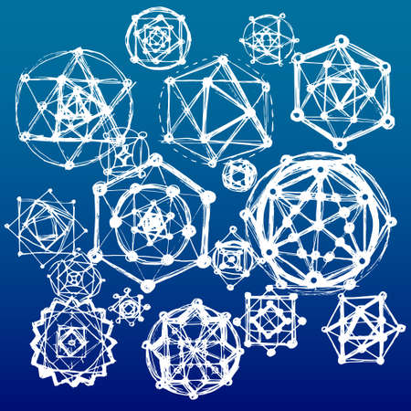big bang: Sacred geometry symbols and elements background. Cosmic universe big bang alchemy religion philosophy astrology science physics chemistry and spirituality themes