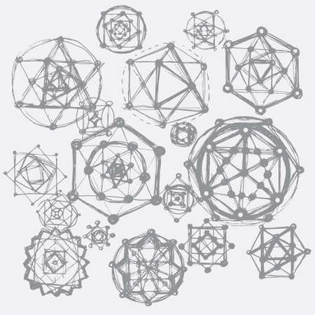 spiritual meditation creation: Sacred geometry symbols and elements background. Cosmic universe big bang alchemy religion philosophy astrology science physics chemistry and spirituality themes