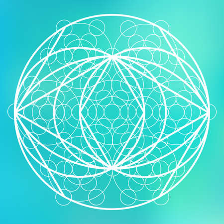 equilibrium: Sacred geometry symbol on colorful mesh background. Alchemy, religion, philosophy, astrology and spirituality themes. Matter, space and time. Science in Universe Illustration