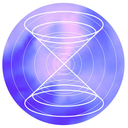 spiritual meditation creation: Sacred geometry symbol on colorful mesh background. Alchemy, religion, philosophy, astrology and spirituality themes. Matter, space and time. Science in Universe Illustration
