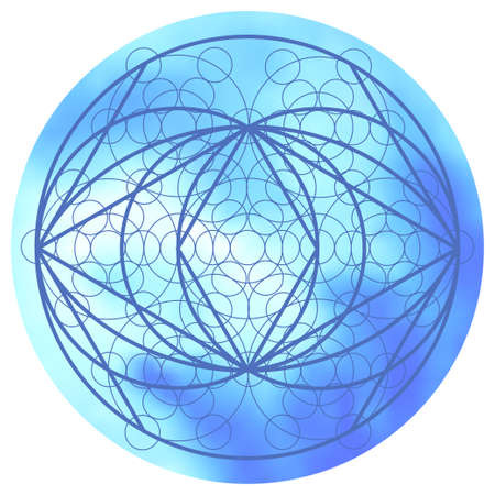 matter: Sacred geometry symbol on colorful mesh background. Alchemy, religion, philosophy, astrology and spirituality themes. Matter, space and time. Science in Universe Illustration