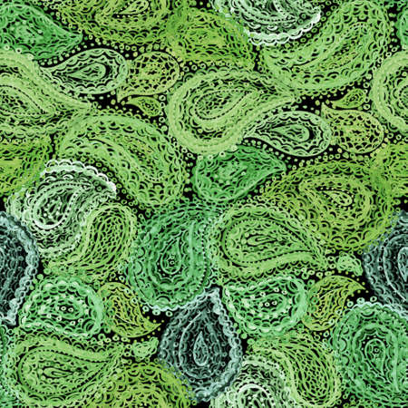 green flowers: Watercolor Mehndi Ethnic Henna Paisley Doodle elements Illustration. Wallpaper textile seamless pattern. Green color on dark background. Stock Photo
