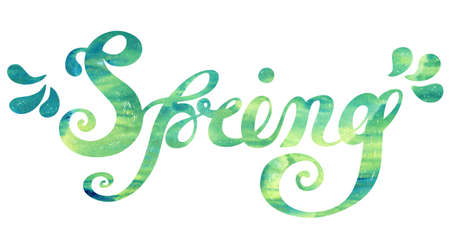 springtime: Spring Quote on watercolor green background. Spring season or springtime. Spring hand drawn lettering rough typography. Spring typography design element for posters, greeting cards, invitations.