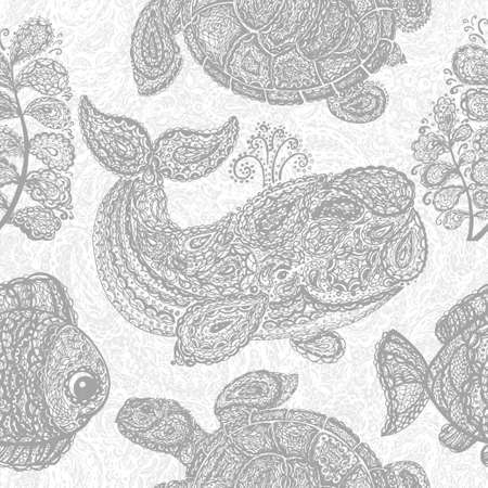 gray whale: Sea turtle, whale, water plant and fish in doodle paisley mehndi style. Sea life. Animals in the ocean. Set of the sea life. Wallpaper seamless surface textile pattern. Gray color