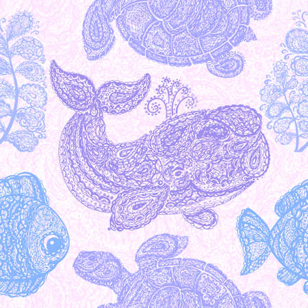 Sea turtle, whale, water plant and fish in doodle paisley mehndi style. Sea life. Colorful animals in the ocean. Set of the sea life. Wallpaper seamless surface textile pattern. Ilustrace