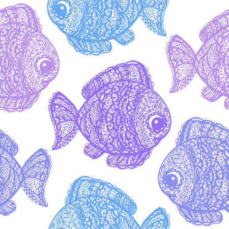 jumping carp: Fish in paisley mehndi doodle style. Cartoon fish illustration. Abstract fish drawing. Colorful wallpaper seamless textile pattern.