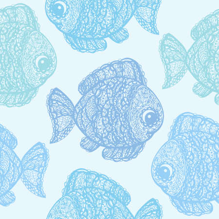 jumping carp: Fish in paisley mehndi doodle style. Cartoon fish illustration. Abstract fish drawing. Colorful wallpaper seamless textile pattern.
