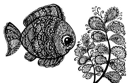 jumping carp: Fish in paisley mehndi doodle style. Cartoon fish illustration. Abstract fish drawing. Black and white color.