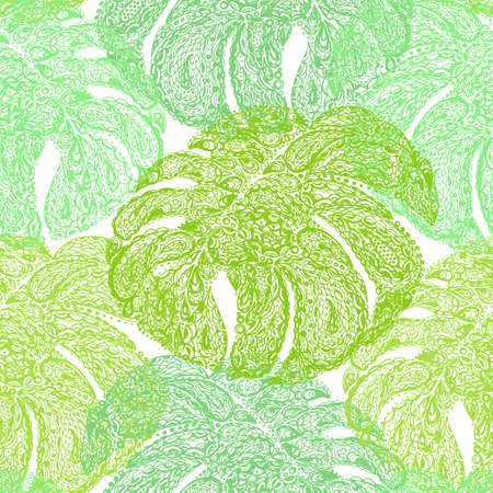 miami south beach: Monstera leaves illustration in paisley style. Tropical jungle plant. Vector wallpaper seamless textile pattern. Retro vintage style. Green color.