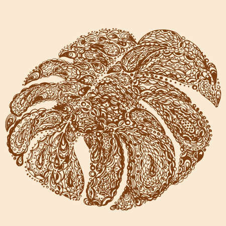 monstera: Monstera leaves illustration in paisley style. Tropical jungle plant. Vector eps10. Retro vintage style.