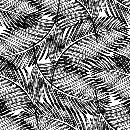 Palm leaves illustration. Tropical jungle plant. Vector wallpaper seamless textile pattern. Retro vintage style. Black and white color.