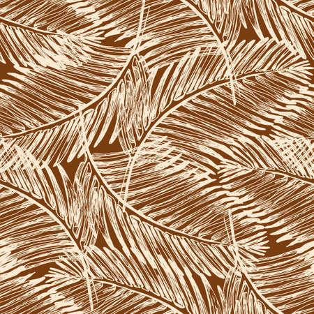 Palm leaves illustration. Tropical jungle plant. Vector wallpaper seamless textile pattern. Retro vintage style.