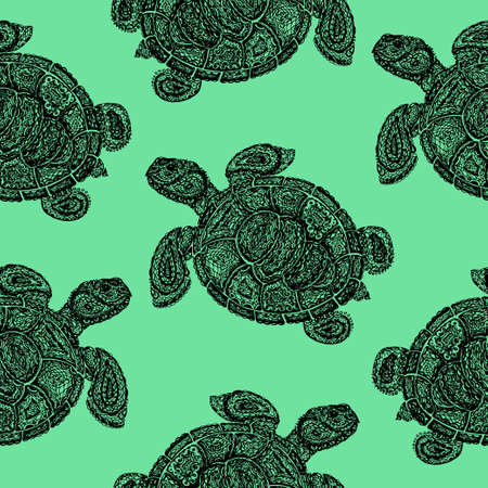 ancient turtles: Sea turtle illustration in paisley mehndi style wallpaper pattern. The tortoise reptile animal. Tattoo style tortoise-shell. Turtle in decorative doodle style.