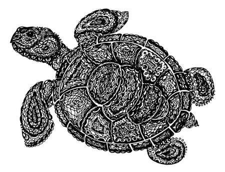 nature silhouette: Sea turtle illustration in paisley mehndi style. The tortoise reptile animal. Tattoo style tortoise-shell. Turtle in decorative doodle style. Black and white color.