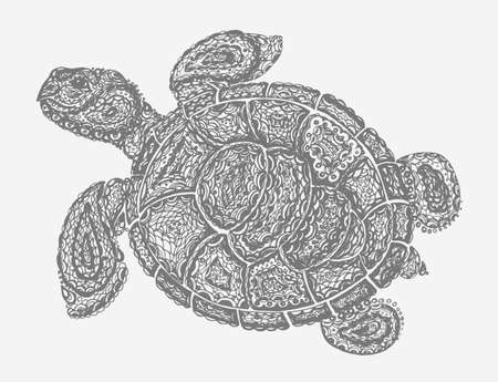 ancient turtles: Sea turtle illustration in paisley mehndi style. The tortoise reptile animal. Tattoo style tortoise-shell. Turtle in doodle style. Gray color. Illustration