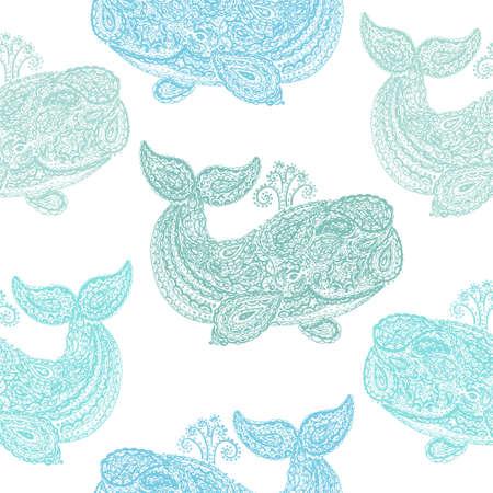 Baleine dans le style paisley doodle mehndi. Illustration dessinée avec baleine à la main. Motif textile sans soudure de papier peint. Animal dans la mer et l'océan. Vecteurs