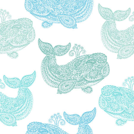 Whale in paisley doodle mehndi style. Hand drawn illustration with whale. Wallpaper seamless textile pattern. Animal in the sea and ocean.