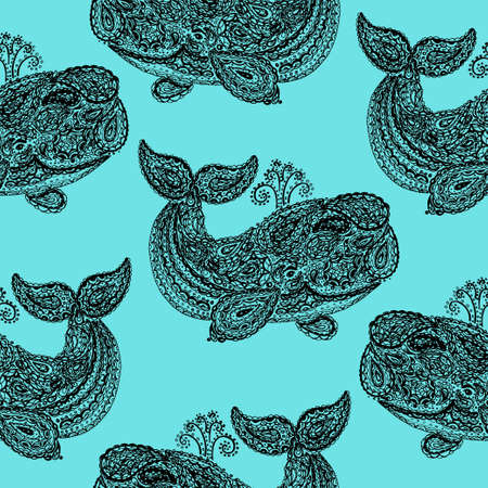 cachalot: Whale in paisley doodle mehndi style. Hand drawn illustration with whale. Wallpaper seamless textile pattern. Animal in the sea and ocean.
