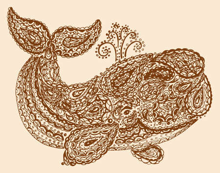 cachalot: Whale in paisley doodle mehndi style. Hand drawn illustration with whale. Ornamental patterned whale illustration for tattoo and decoration. Animal in the sea and ocean.