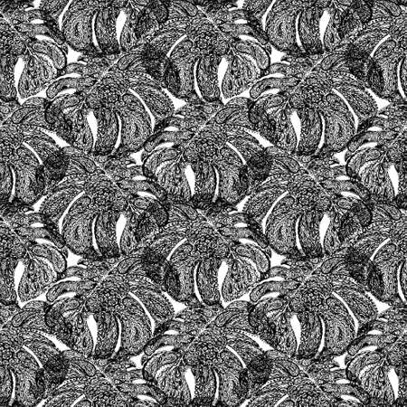 miami south beach: Monstera leaves illustration in paisley style. Tropical jungle plant. Wallpaper seamless textile pattern. Retro vintage style. Black and white color. Stock Photo