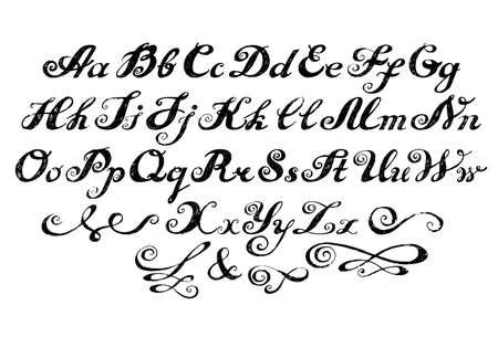 Kalligrafie alfabet gezet belettering Stock Illustratie